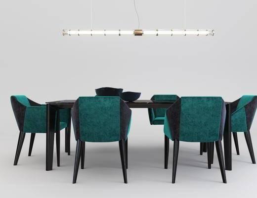 桌椅组合, 餐桌, 餐椅, 单人椅, 吊灯, 现代