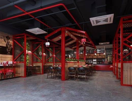 工业风咖啡厅, 咖啡厅, 桌椅组合, 吊灯, 前台