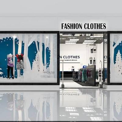 店铺, 服装, 衣服, 橱窗, 衣架, 展台, 简欧
