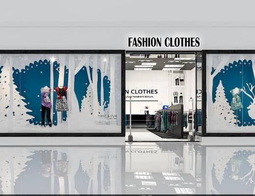 现代, 店铺, 服装, 衣服, 橱窗, 衣架, 展台