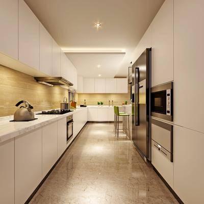 厨房, 橱柜, 储物柜, 厨具, 器皿, 餐具, 烤箱, 冰箱, 洗手台, 抽油烟机, 现代, 现代厨房