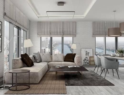 现代客厅, 客厅, 餐厅, 沙发组合, 餐桌椅