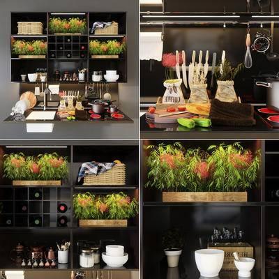 厨具, 餐具, 水龙头, 电磁炉, 厨架, 盆栽, 藤编篮, 食物, 生活用品, 厨房, 现代