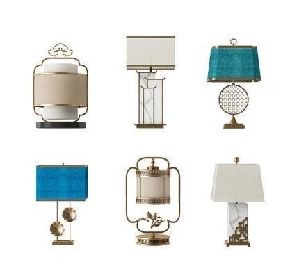 新中式, 台灯, 中式, 灯, 灯具