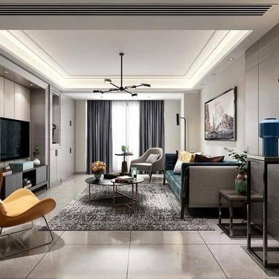 现代客厅, 现代, 客厅, 沙发组合, 椅子, 现代吊灯, 壁灯, 装饰画