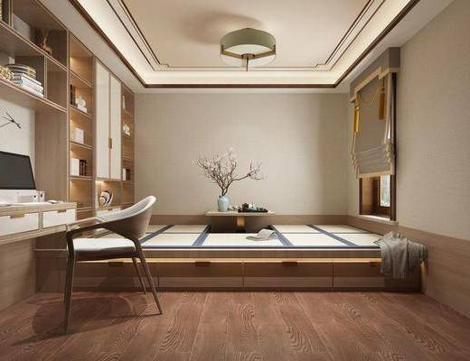 书房, 书柜, 桌椅组合, 吊灯, 榻榻米