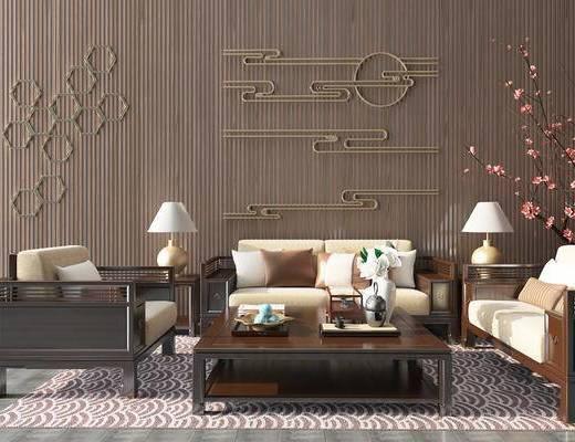 沙发组合, 茶几, 墙饰, 摆件组合, 单椅, 边几, 台灯