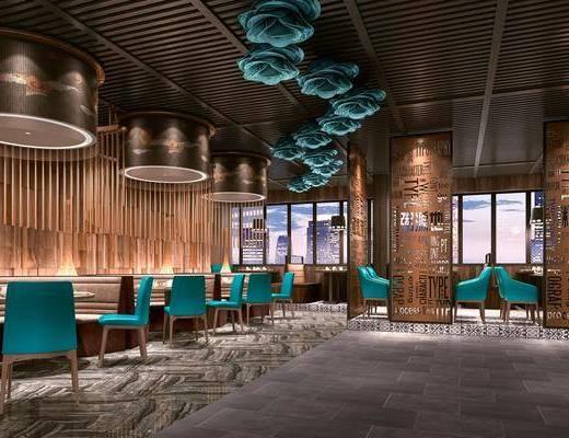餐厅, 主题餐厅, 现代餐厅, 桌椅组合, 餐桌, 隔断, 摆件, 现代