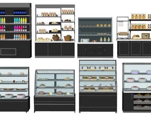 现代, 甜品, 展柜, 柜架, 组合
