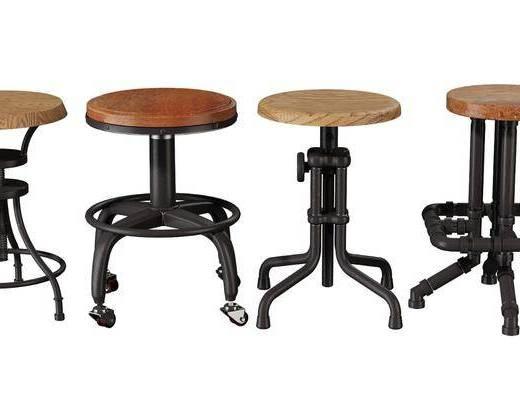 工业风, 吧台椅, 单椅, 单体