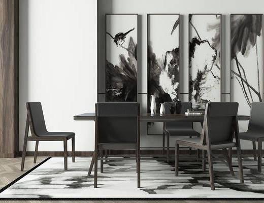 餐桌, 餐椅, 单人椅, 装饰画, 挂画, 新中式