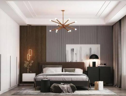 双人床, 吊灯, 衣柜, 边柜, 摆件组合, 床头柜