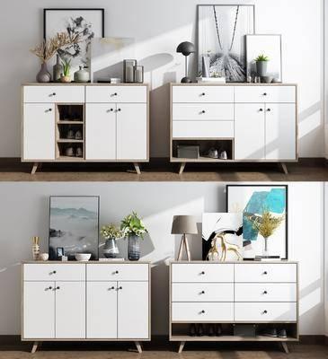 鞋柜邊柜, 臺燈, 花瓶, 花瓶綠植, 干樹枝, 裝飾畫, 擺件, 裝飾品, 陳設品, 掛畫, 擺件組合, 北歐