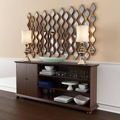 餐柜, 装饰镜, 装饰灯, 餐具, 杯子, 碟子, 现代