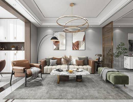 现代, 客厅, 餐厅, 多人沙发, 边几, 休闲椅, 地毯, 餐桌椅