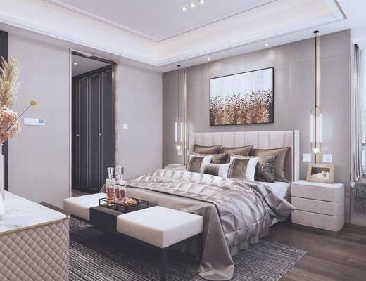 现代卧室, 卧室, 轻奢卧室