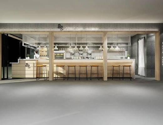 工业风, 奶茶店, 前台, 水吧, 操作台, 吧台, 吧椅, 吊灯, 杯子, 植物, 盆栽