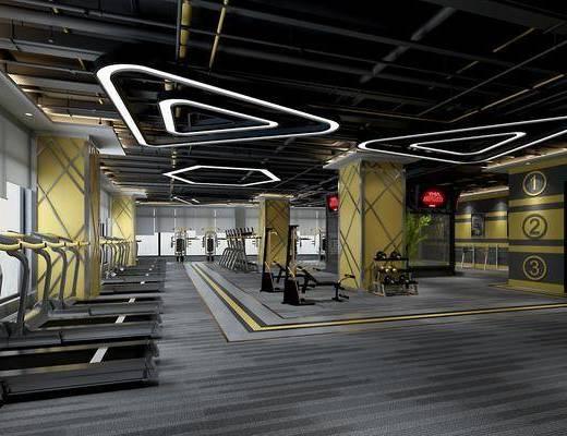 健身室, 健身房, 工业风健身室, 跑步机, 运动器材, 工业风, 通风管道