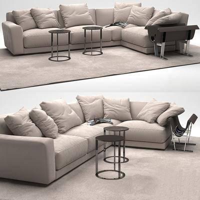 转角沙发, 布艺沙发, 地毯, 现代