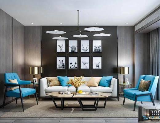 现代沙发组合, 沙发组合, 多人沙发, 现代沙发茶几组合