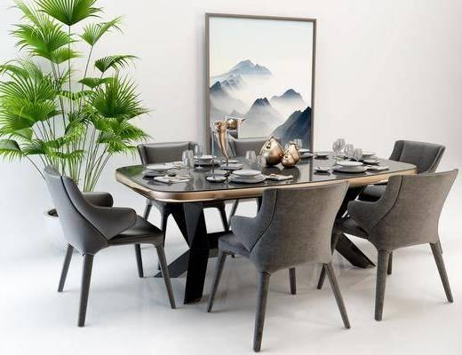 桌椅组合, 现代餐桌椅组合, 摆件组合, 单椅