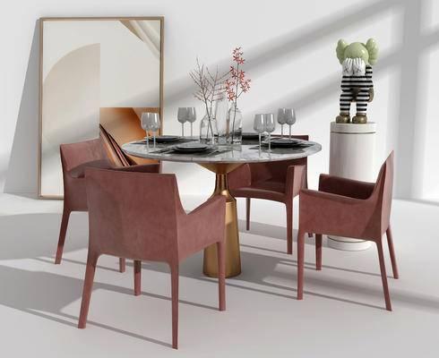 餐桌, 桌椅组合, 摆件组合, 装饰画, 餐具组合
