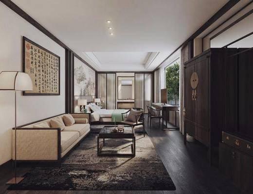酒店客房, 多人沙发, 落地灯, 茶几, 双人床, 单人沙发, 风景画, 字画, 床头柜, 台灯, 书桌, 单人椅, 茶具, 衣柜, 中式