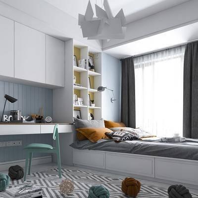 卧室, 北欧卧室, 榻榻米, 书柜, 书籍, 书桌, 单椅, 北欧