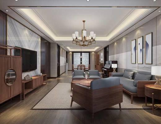 客厅, 新中式客餐厅, 沙发组合, 茶几, 摆件, 桌椅组合, 单椅, 吊灯, 挂画, 装饰柜, 电视柜, 新中式