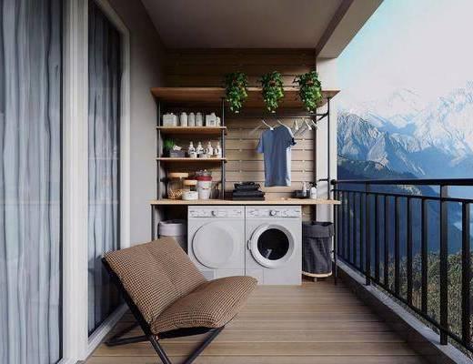 阳台露台, 洗衣机, 装饰架, 绿植植物, 现代