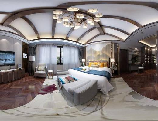 新中式卧室空间, 家装