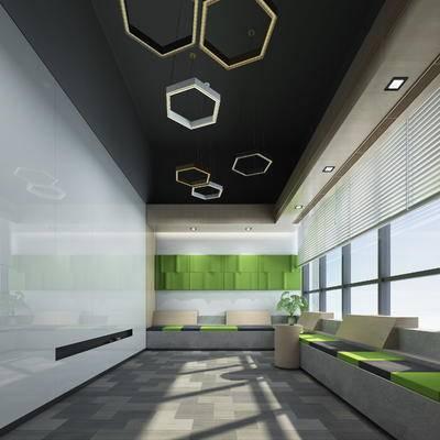 现代, 会议室, 休闲区, 办公室