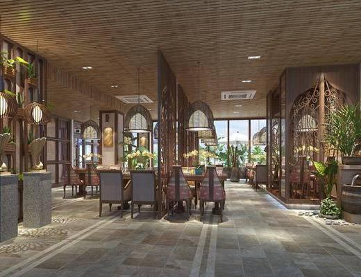 餐厅, 东南亚餐厅, 桌椅组合, 吊灯, 隔断, 植物, 绿植, 盆栽, 东南亚