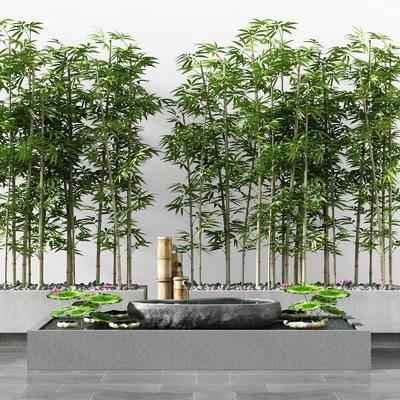 新中式竹子流水水池景观小品, 柱子, 荷花, 荷叶, 水池, 竹林