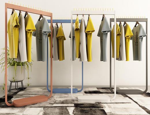 衣架, 衣服, 衣帽架, 现代, 盆栽, 地毯