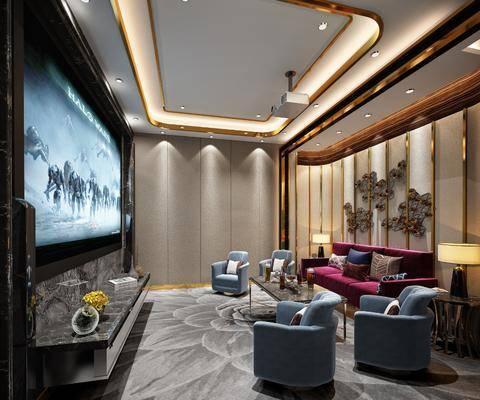 影音室, 沙发组合, 单椅, 台灯, 电视