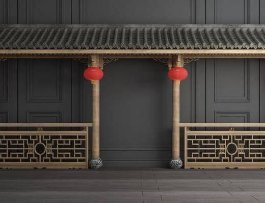 屋顶屋檐, 门面门头, 灯笼, 新中式