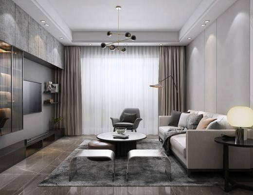 客餐厅, 玄关走廊, 现代高级灰客餐厅玄关3d模型, 沙发组合, 茶几, 摆件组合, 酒柜, 桌椅组合, 边柜