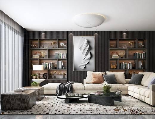 沙发组合, 茶几, 装饰画, 书籍, 书架, 边几, 台灯