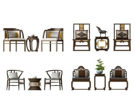中式椅子, 茶几, 圆几, 椅子, 盆栽, 抱枕