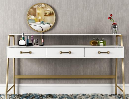 梳妆台, 化妆品, 陈设品, 镜子, 桌子