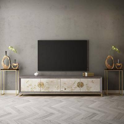 中式电视柜, 电视, 摆件
