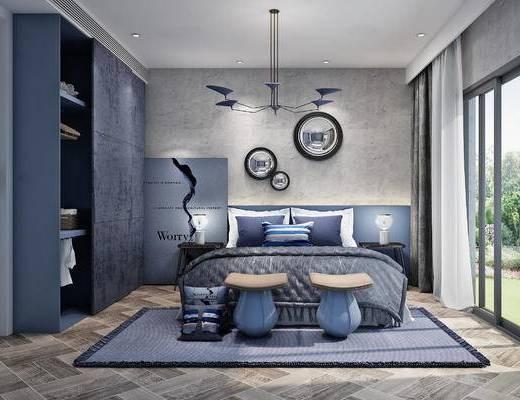 现代, 北欧, 卧室, 墙饰, 双人床, 凳子, 衣柜