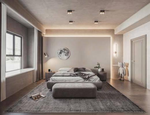 现代, 主卧室, 家装
