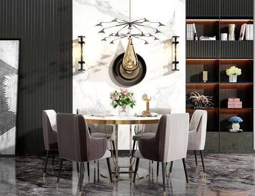 桌椅组合, 餐桌, 餐椅, 单人椅, 圆桌, 墙饰, 吊灯, 装饰柜, 摆件, 餐具, 装饰品, 陈设品, 壁灯, 装饰画, 挂画, 现代