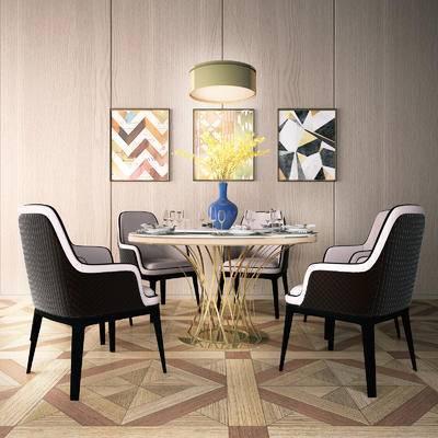 餐桌椅, 椅子, 桌子, 装饰画, 吊灯, 餐具, 现代
