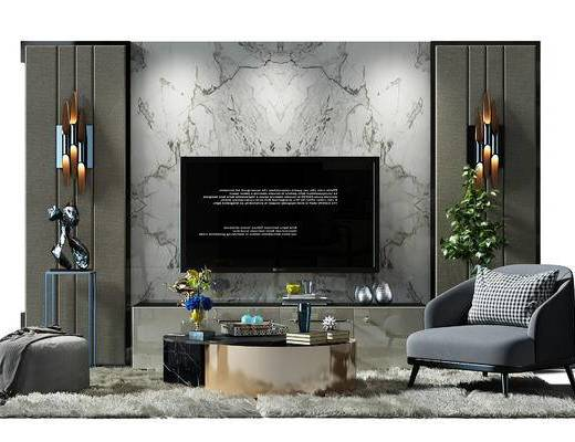 电视墙, 背景墙, 电视背景墙, 壁灯, 电视柜, 地毯, 茶几, 椅子, 沙发椅, 沙发凳, 现代