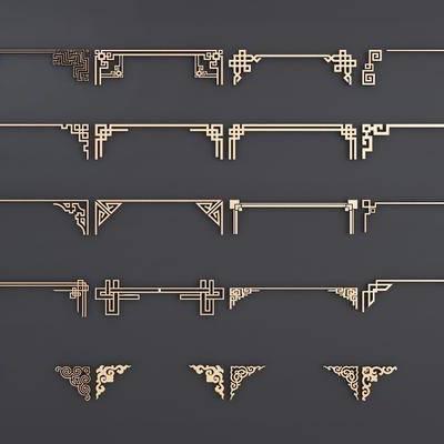 线条, 新中式雕花, 角线, 新中式, 金属雕花, 金属, 镂空, 双十一