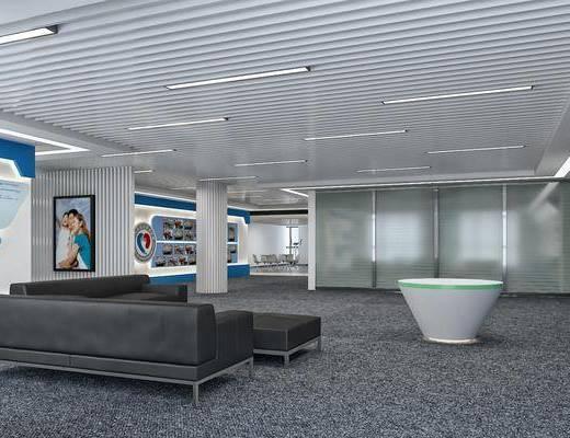 公司展厅, 多人沙发, 转角沙发, 凳子, 装饰画, 挂画, 现代简约