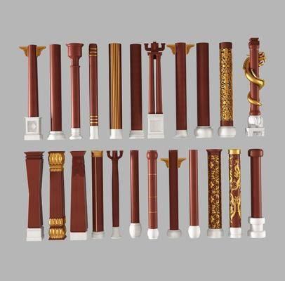 古典雕花, 斗拱角, 花柱子, 龙柱子
